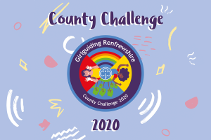 County Challenge Badge surrounded with doodles. Text: County Challenge 2020