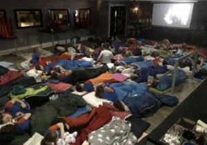 Around 40 Guides in sleeping blankets in FlipOut
