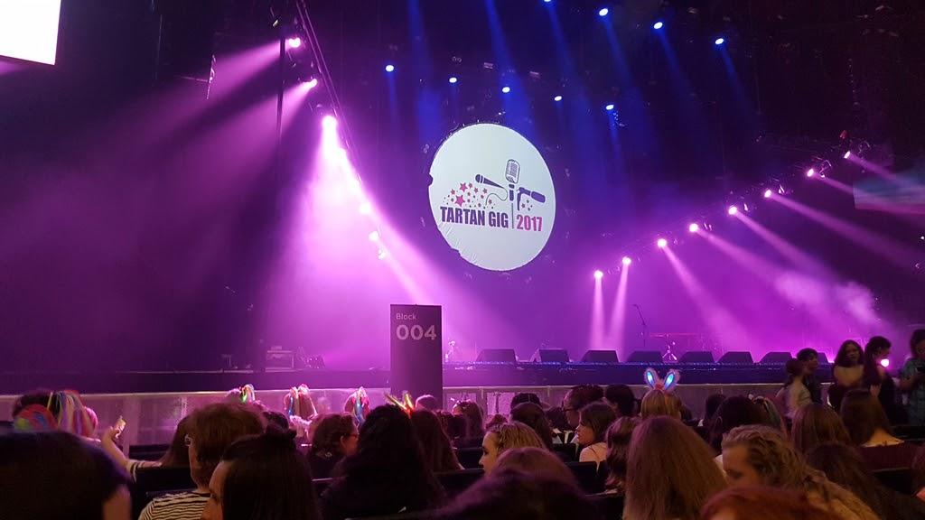 Tartan Gig stage with logo