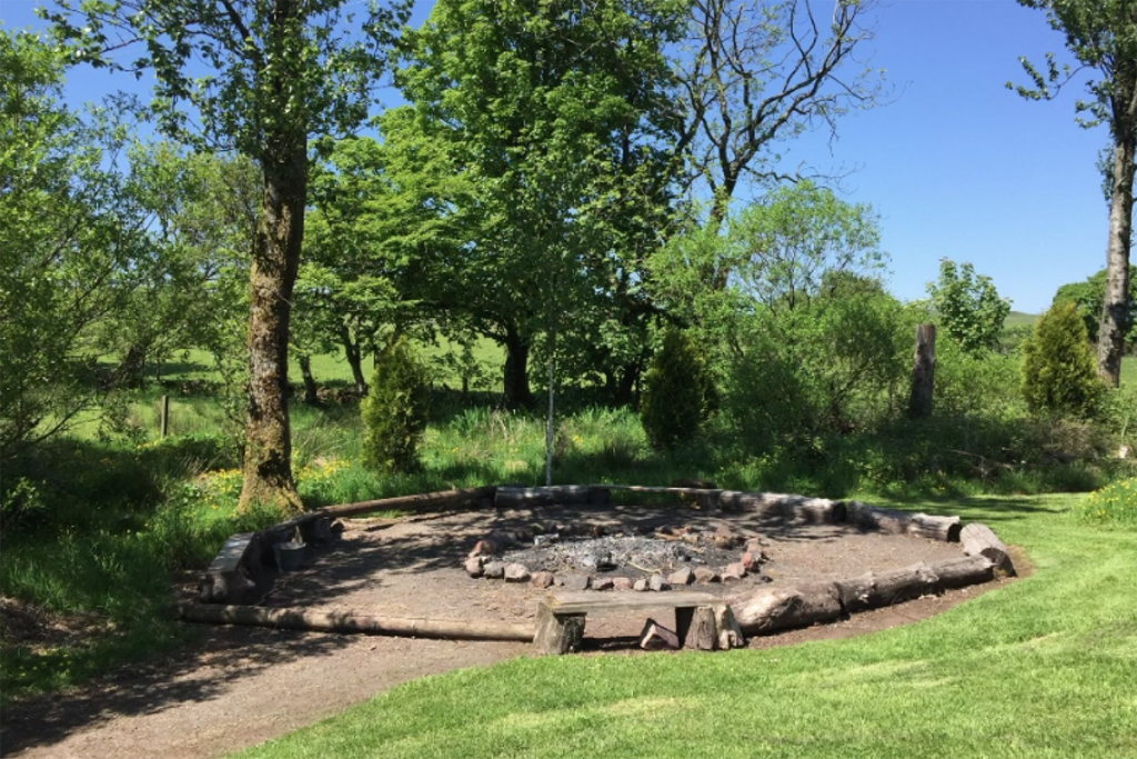 Campfire circle surrounded with benches