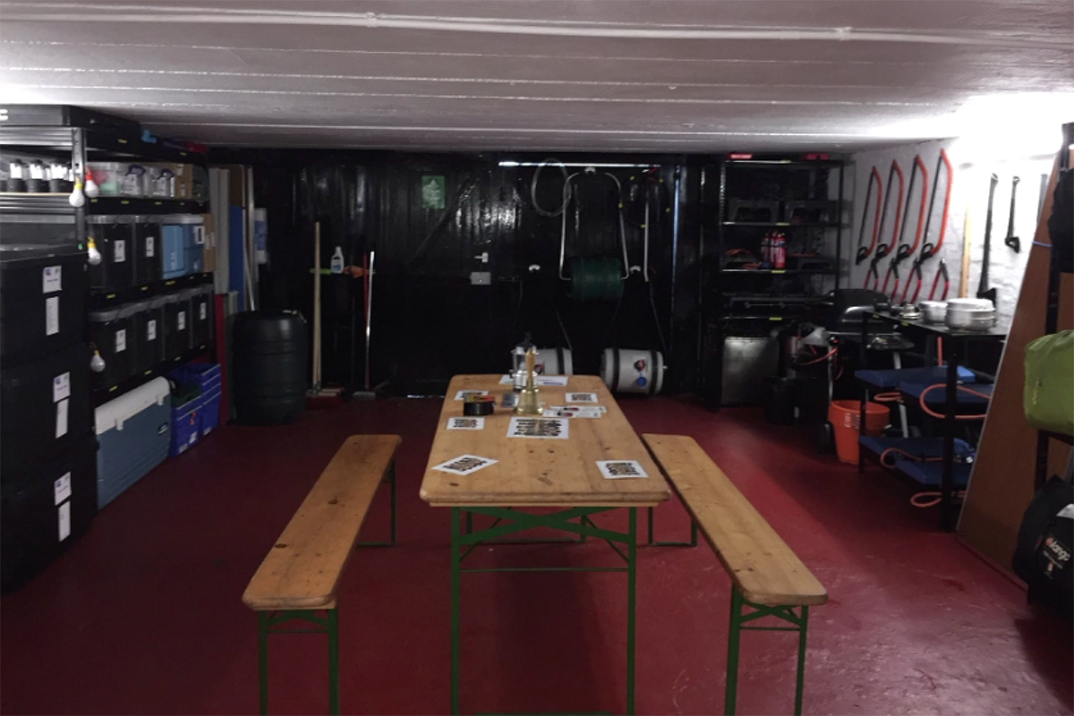 Indoor camp store with table
