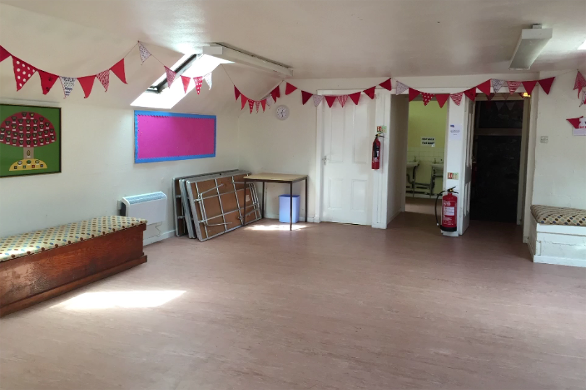 Activity room with tables to side