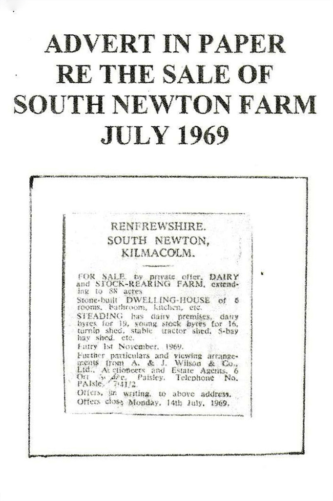 Newspaper clipping of sale of South Newton farm