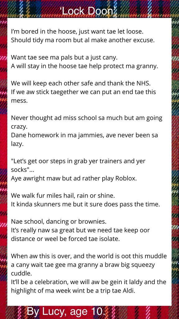 Text of Lucy's poem, surrounded by tartan