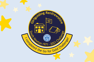 South Newton Challenge Badge which includes a house, a flag, and a tent on a blue background, outlined in gold. The badge sits on a pale blue background with stars.