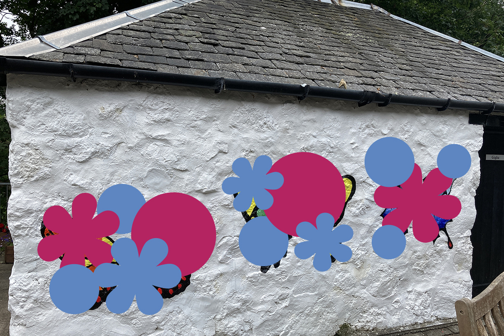 A wall of a white house with blue and pink circles and flowers covering artwork. You can make out hints of insect wings.